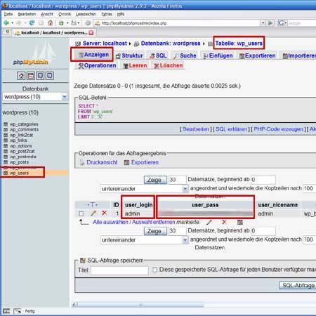 Passwort in der Datenbank mit phpMyAdmin