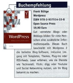 Buchempfehlung im WordPress Magazin 09/2008