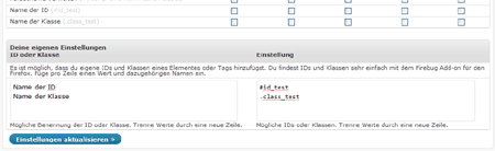 Screenshot Adminimize Eigene Optionen