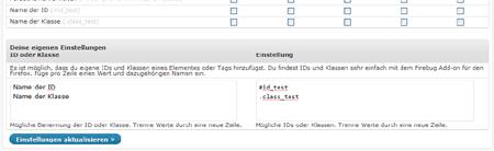 Screenshot Adminimize Eigene Optionen