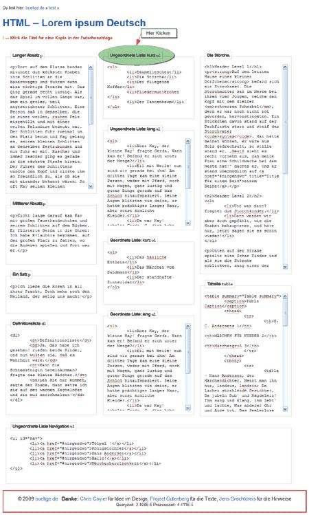 Screenshot HTML Lorem ipsum Deutsch