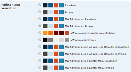 Screenshot MW Adminimize Options