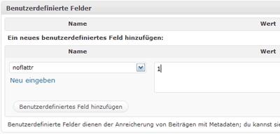 benutzerdef. Feld in WordPress für die Deaktivierung des Flattr-Button
