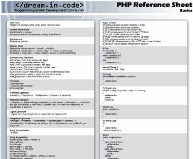 Screenshot PHP Cheat Sheet