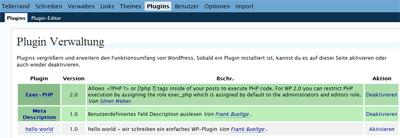 Screenshot WP-Admin Plugin