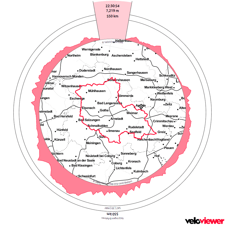 Karte des Track von Thüringen erfahren 2020