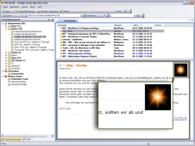 Screenshot RSS Bandit mit Image des Feeds