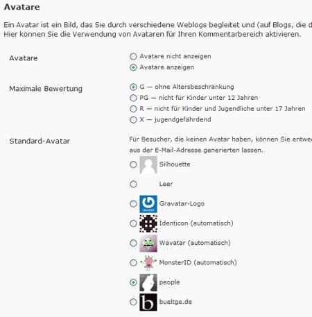 Avatar Einstellungen im Backend von WP 2.7