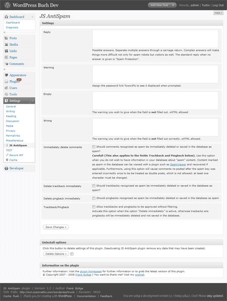Screenshot JS Antispam Plugin