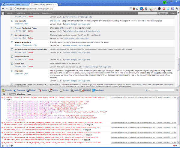 PHP Console Error View