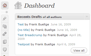 Screenshot des Dashbaord Widget der letzten Entwürfe aller Autoren