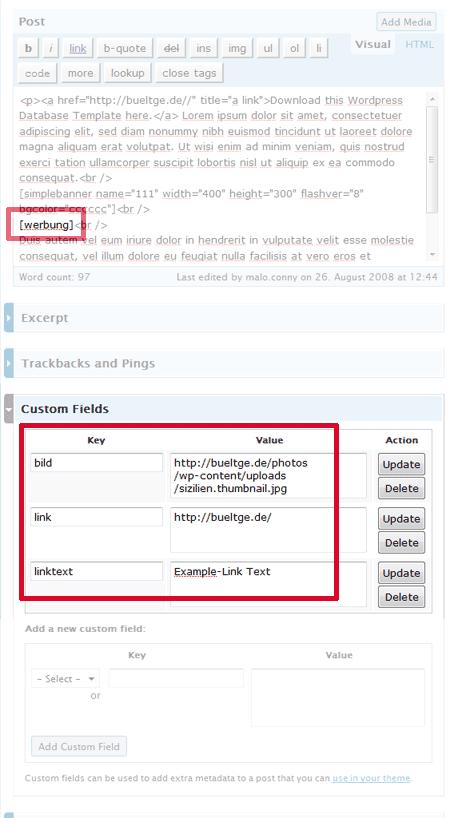 Shortcode und benutzerdefinierte Felder in WordPress