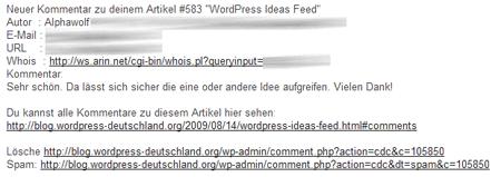 Beispiel der WordPress Mail