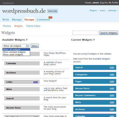 WP 2.4 Widget Screenshot