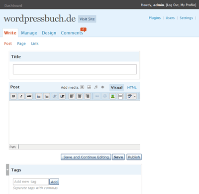 WP 2.4 Write Screenshot