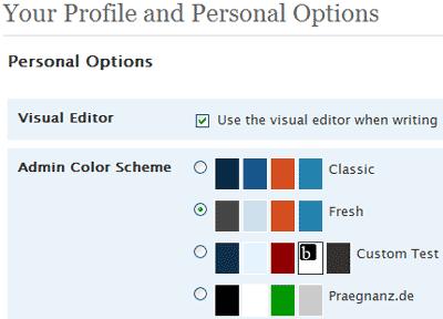 WP 2.5 User-Farbwähler