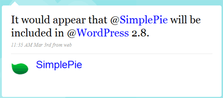 SimplePie im Core ab WordPress 2.8