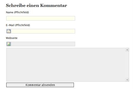 Kommentarformular in Opera 9.6